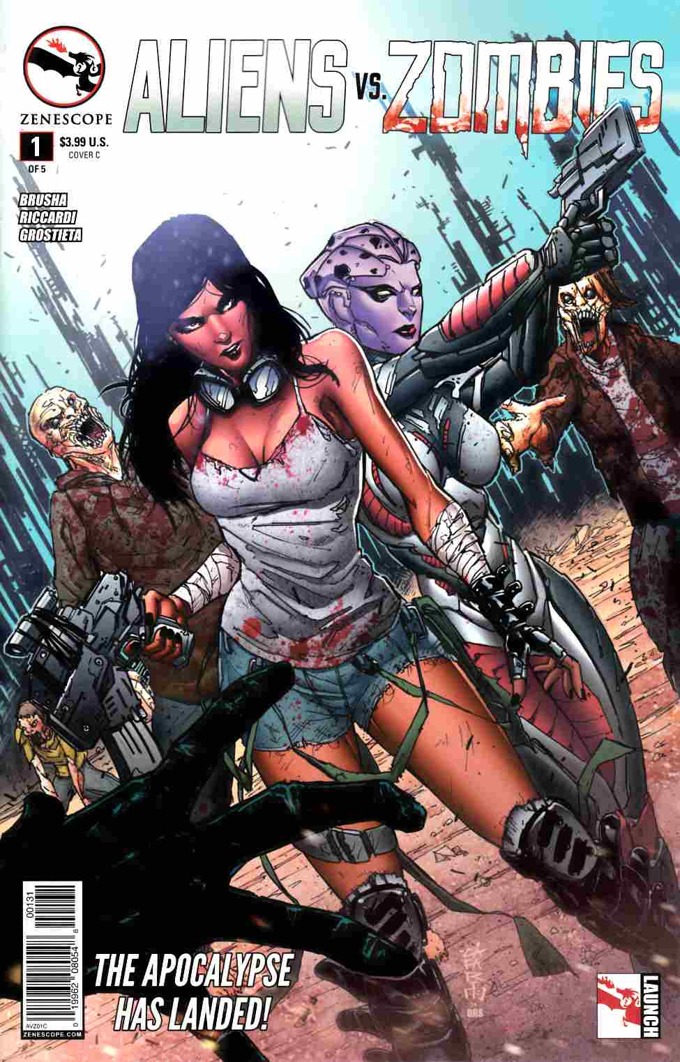 Aliens vs Zombies #1 Cover C- Cafaro [Zenescope Comic] THUMBNAIL