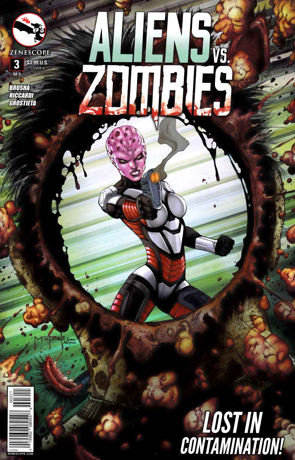 Aliens Vs Zombies #3 Cover A- Metcalf [Zenescope Comic] THUMBNAIL