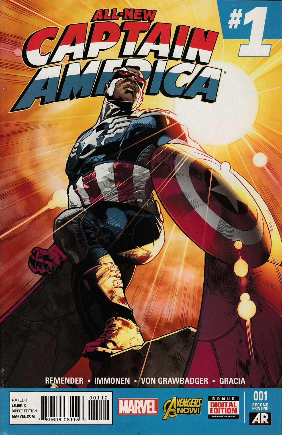 All New Captain America #1 Second Printing Very Fine (8.0) [Marvel Comic]_THUMBNAIL