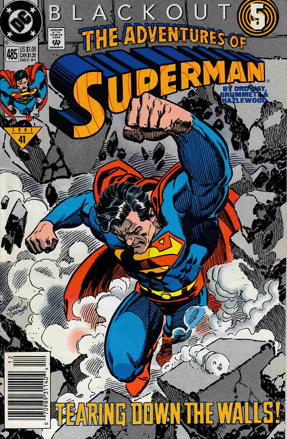 Adventures of Superman #485 Newsstand Edition Near Mint Minus (9.2) [DC Comic] LARGE