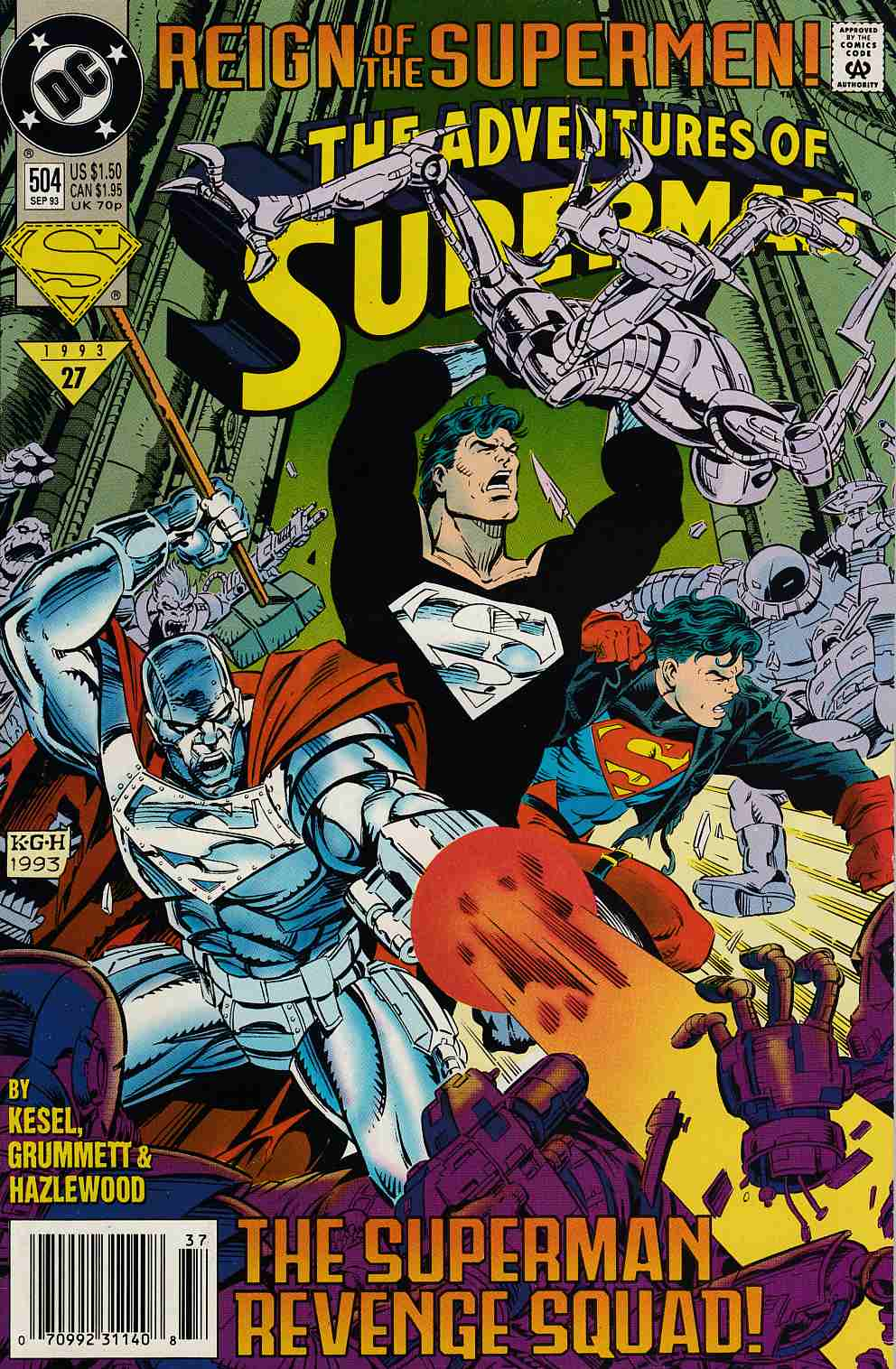 Adventures of Superman #504 Newsstand Edition Near Mint Minus (9.2) [DC Comic] LARGE