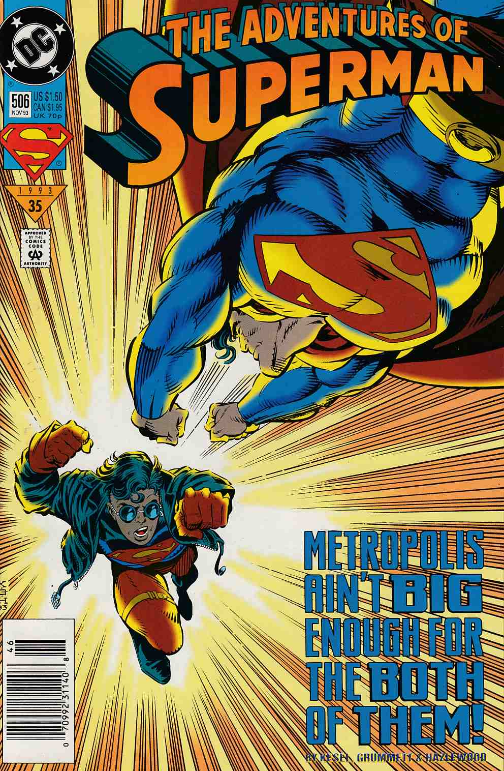 Adventures of Superman #506 Newsstand Edition Near Mint (9.4) [DC Comic] LARGE