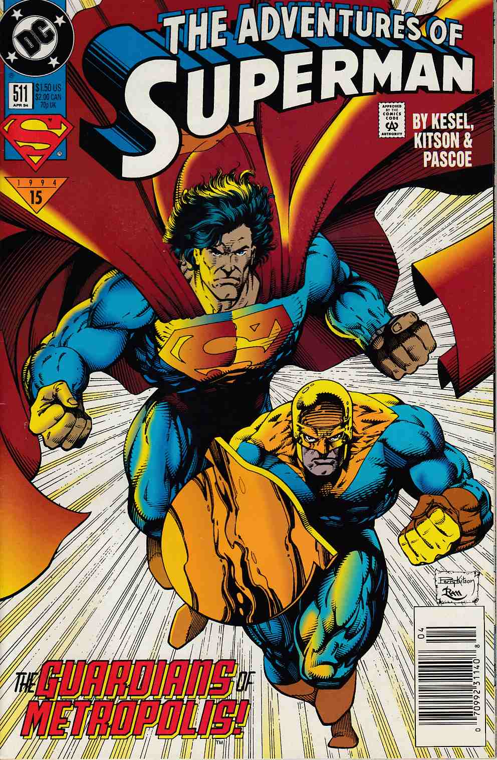 Adventures of Superman #511 Newsstand Edition Very Fine (8.0) [DC Comic] LARGE