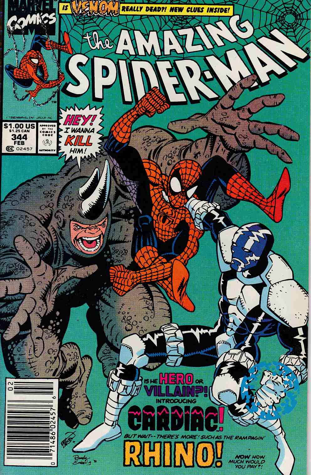Amazing Spider-Man #344 Newsstand Edition Near Mint Minus (9.2) [Marvel Comic] LARGE