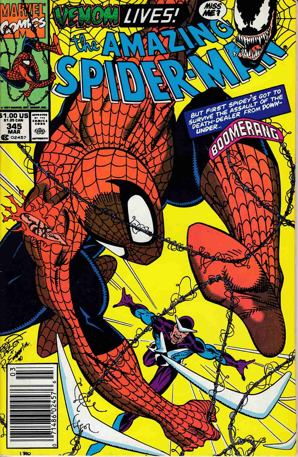 Amazing Spider-Man #345 Newsstand Edition Very Fine (8.0) [Marvel Comic] LARGE