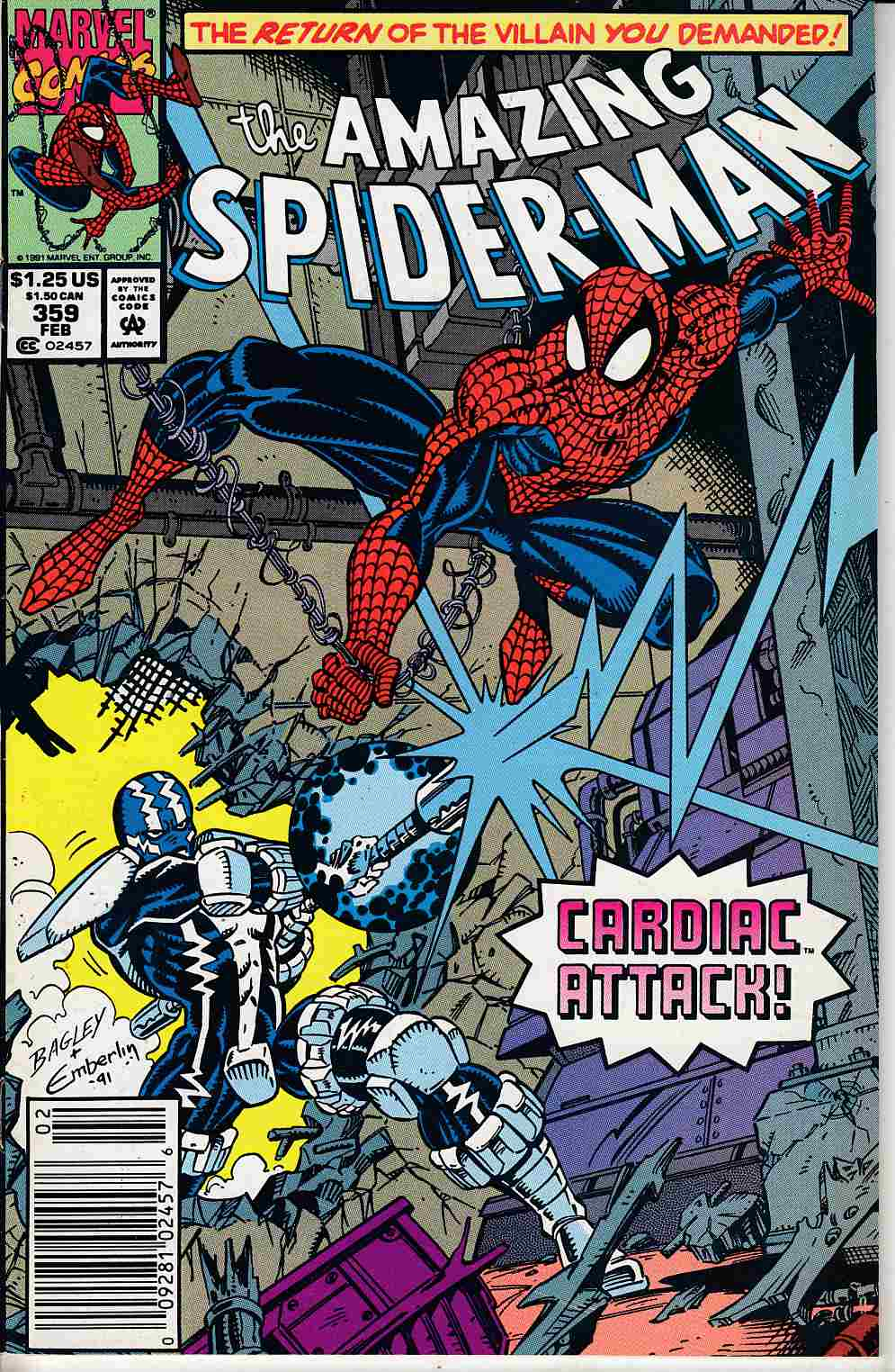 Amazing Spider-Man #359 Newsstand Edition Near Mint (9.4) [Marvel Comic] LARGE
