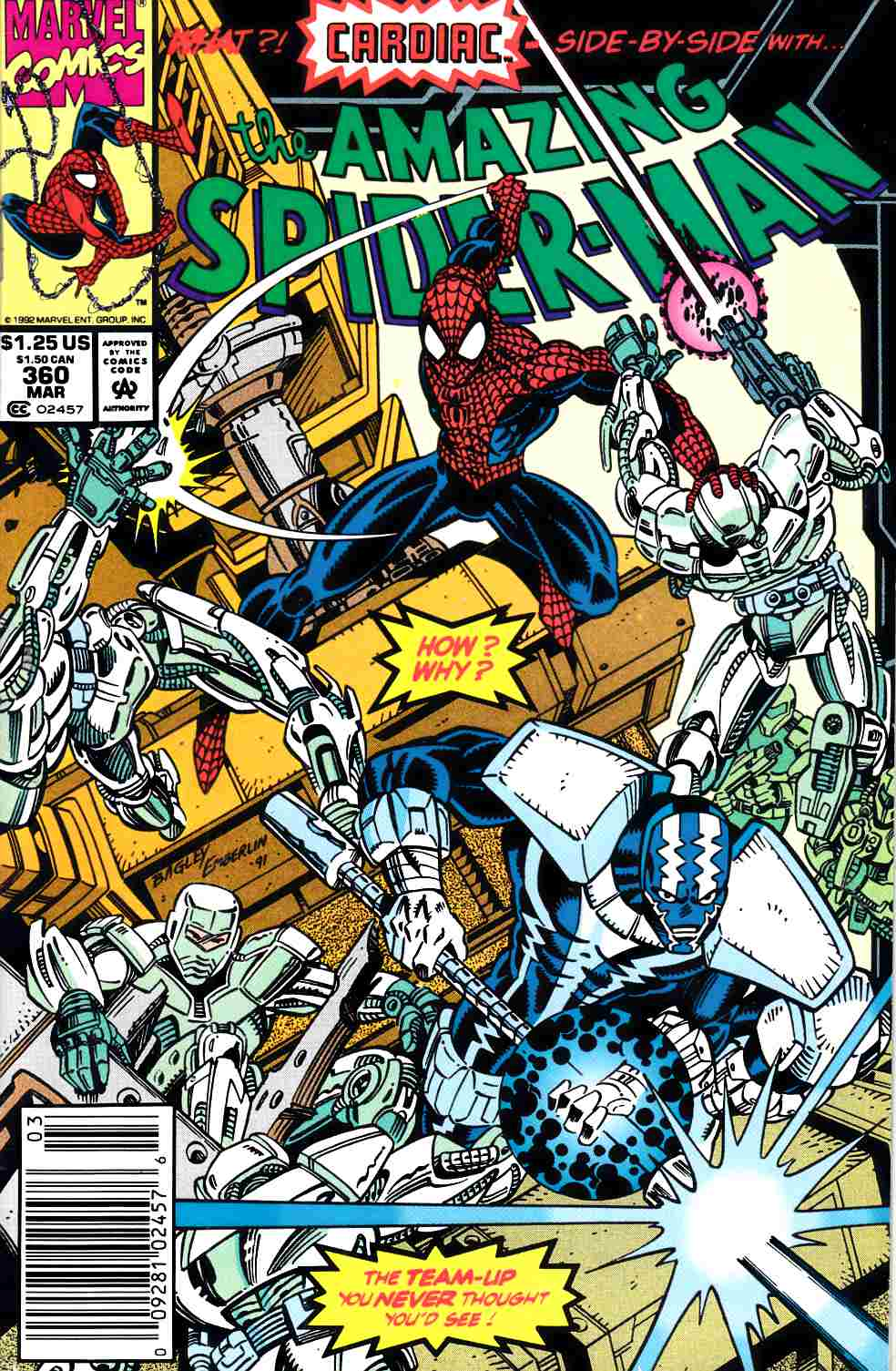 Amazing Spider-Man #360 Newsstand Edition very Fine Minus (7.5) [Marvel Comic] THUMBNAIL