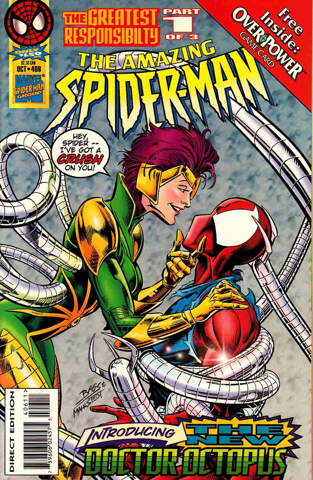 Amazing Spider-Man #406 With Card Near Mint (9.4) [Marvel Comic] LARGE