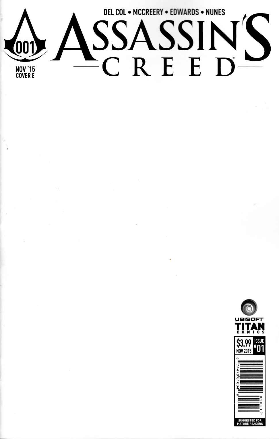 Assassins Creed #1 Blank Sketch Variant Cover [Titan Comic]_THUMBNAIL