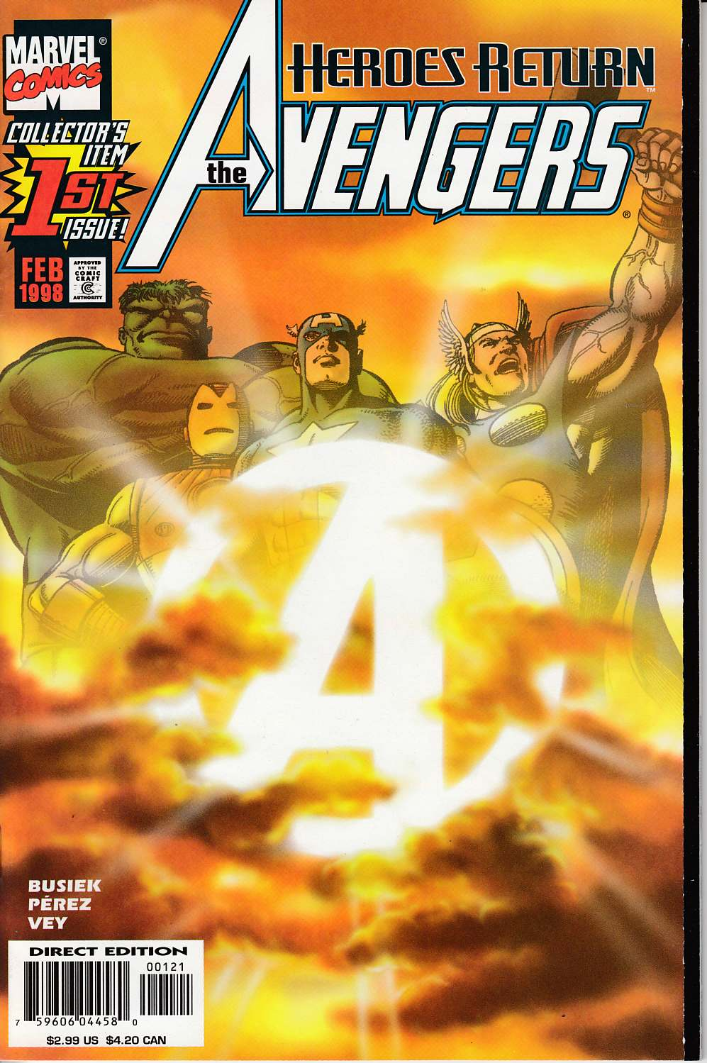 Avengers #1 Sunburst Variant Cover Very Fine (8.0) [Marvel Comic] LARGE