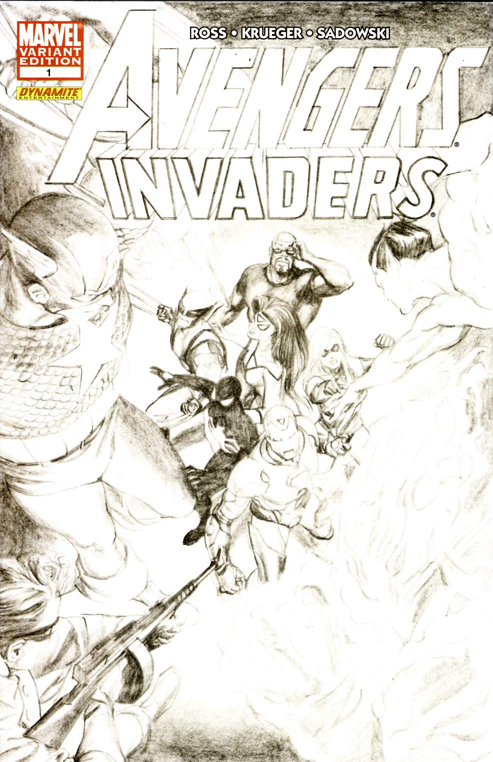 Avengers Invaders #1 Ross Sketch Variant Cover Very Fine (8.0) [Marvel Comic] THUMBNAIL