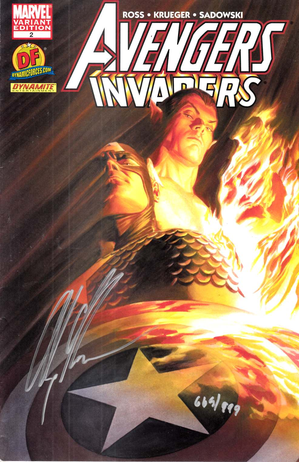 Avengers Invaders #2 DF Variant Cover  Signed by Ross Very Fine Minus (7.5) [Marvel Comic] THUMBNAIL