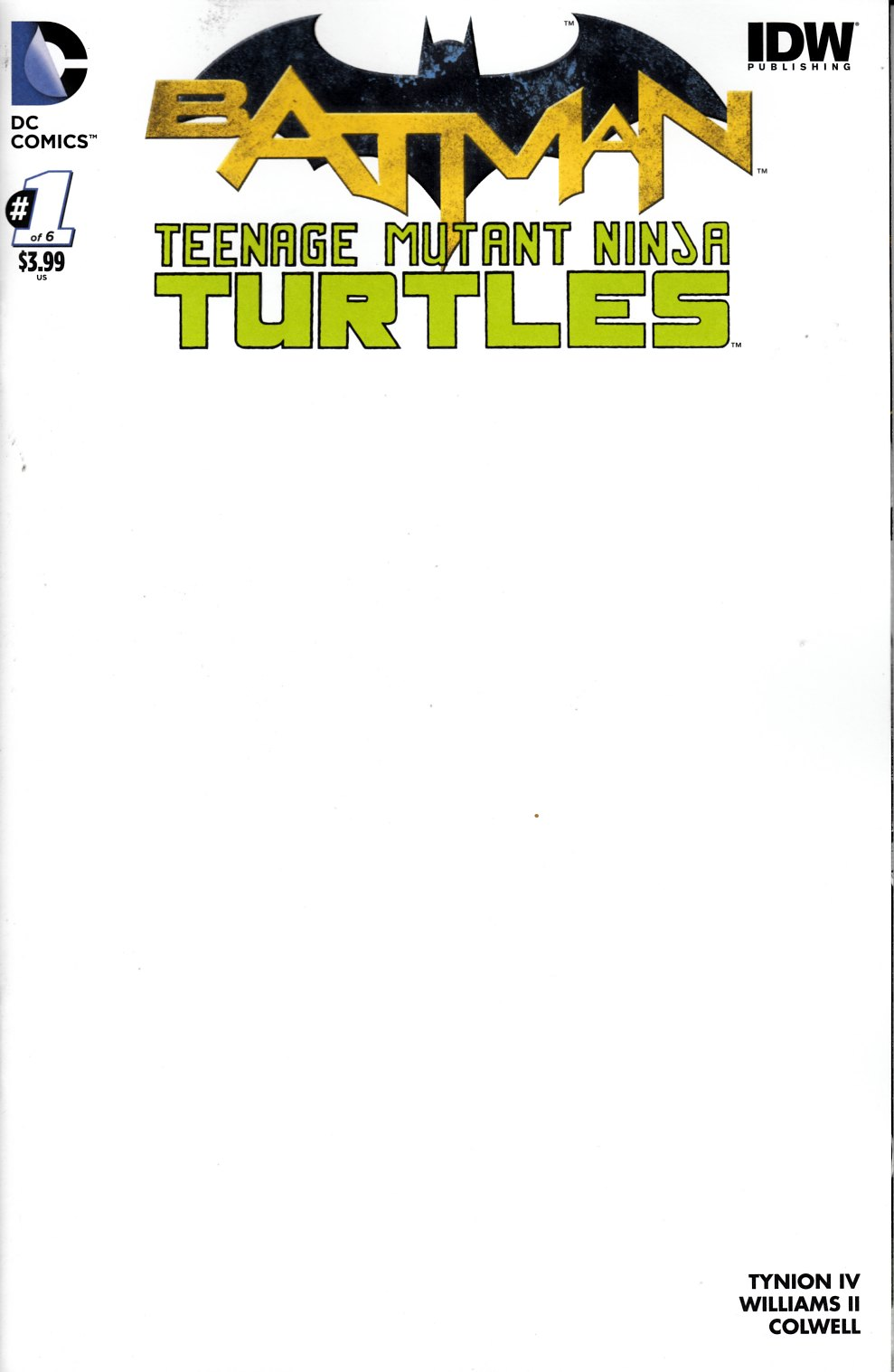 Batman Teenage Mutant Ninja Turtles #1 Blank Variant Cover [DC Comic] LARGE