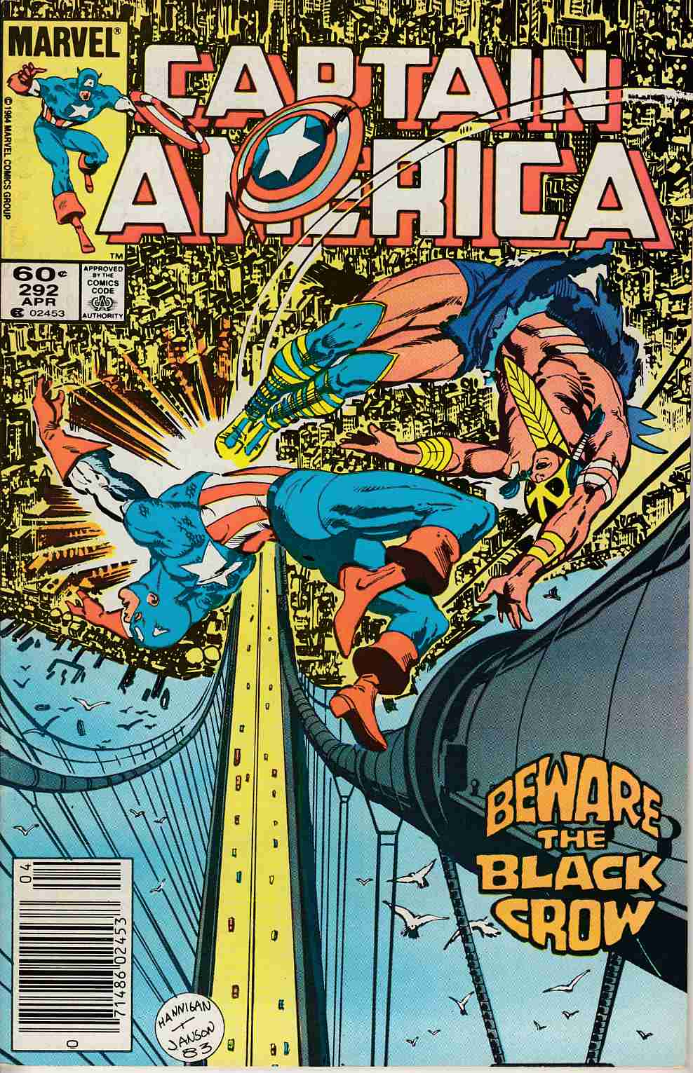 Captain America #292 Newsstand Edition Very Fine Minus (7.5) [Marvel Comic] LARGE