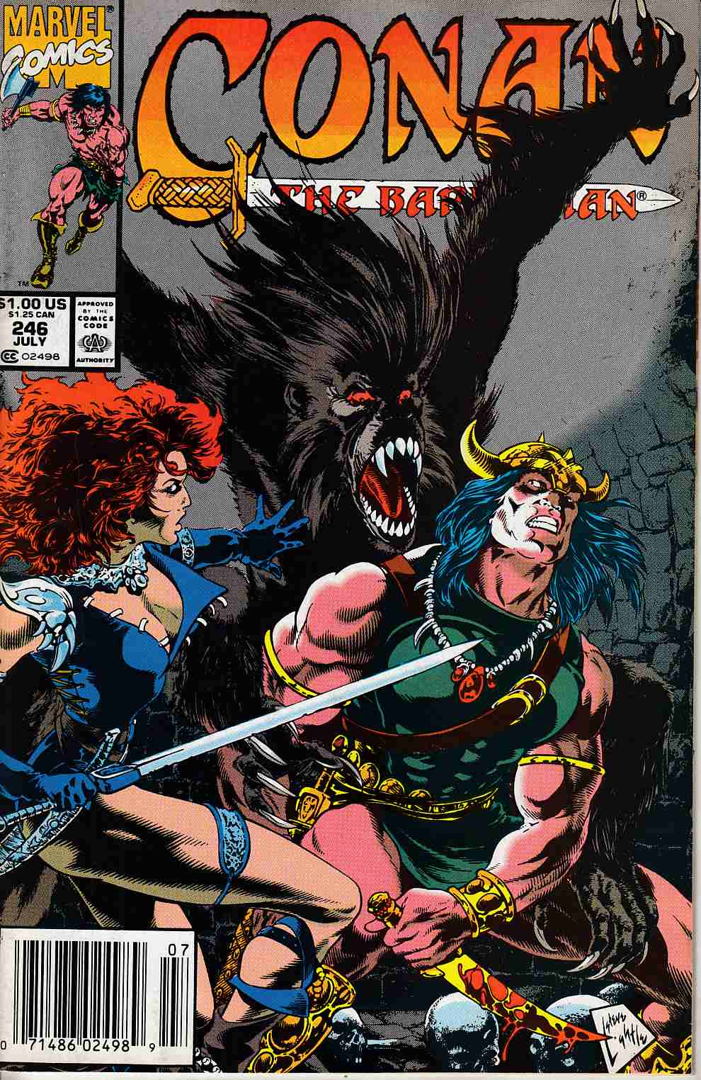 Conan the Barbarian #246 Newsstand Edition Very Fine (8.0) [Marvel Comic] LARGE