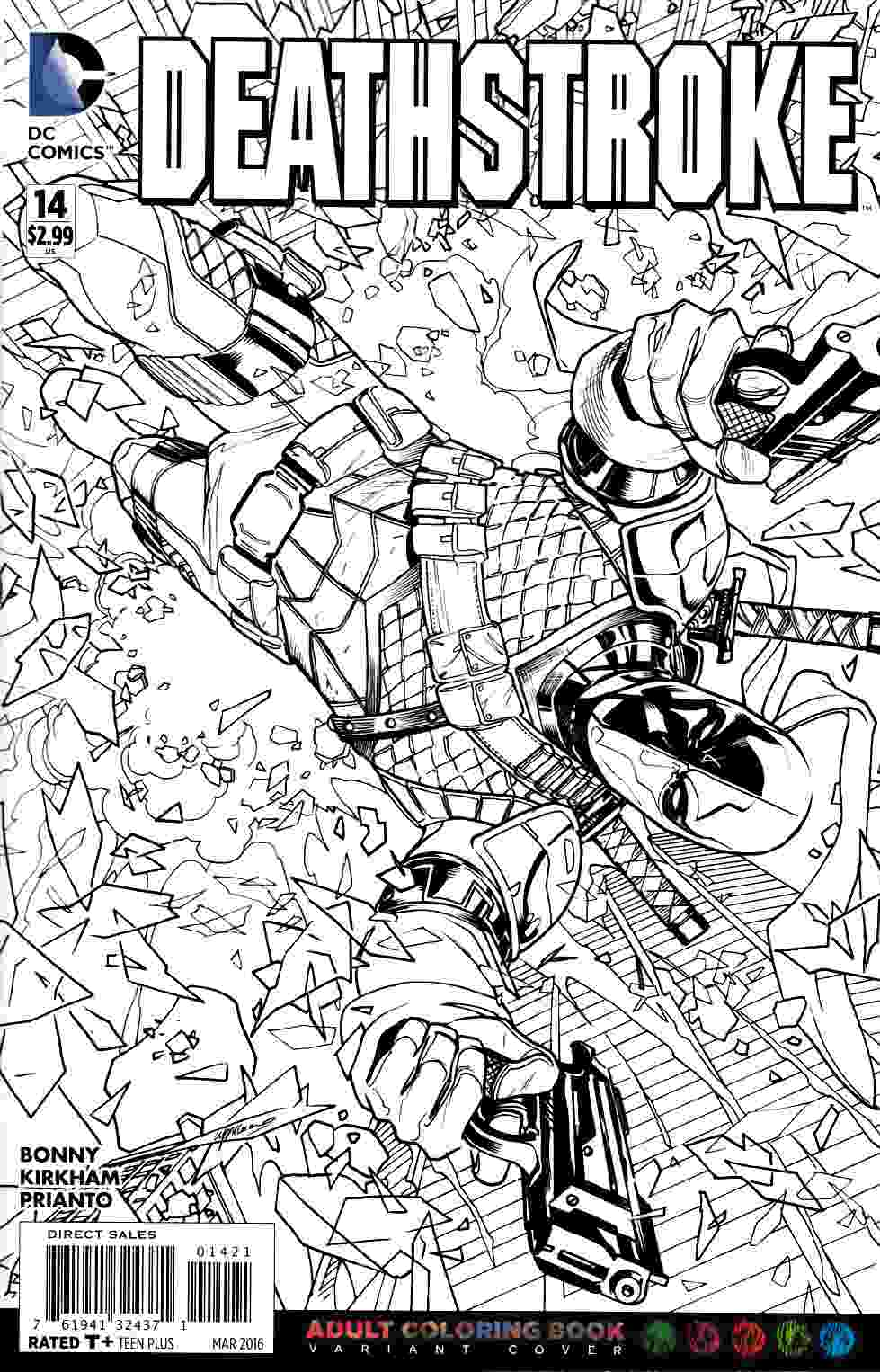 Deathstroke #14 Adult Coloring Book Variant Cover [DC Comic ...