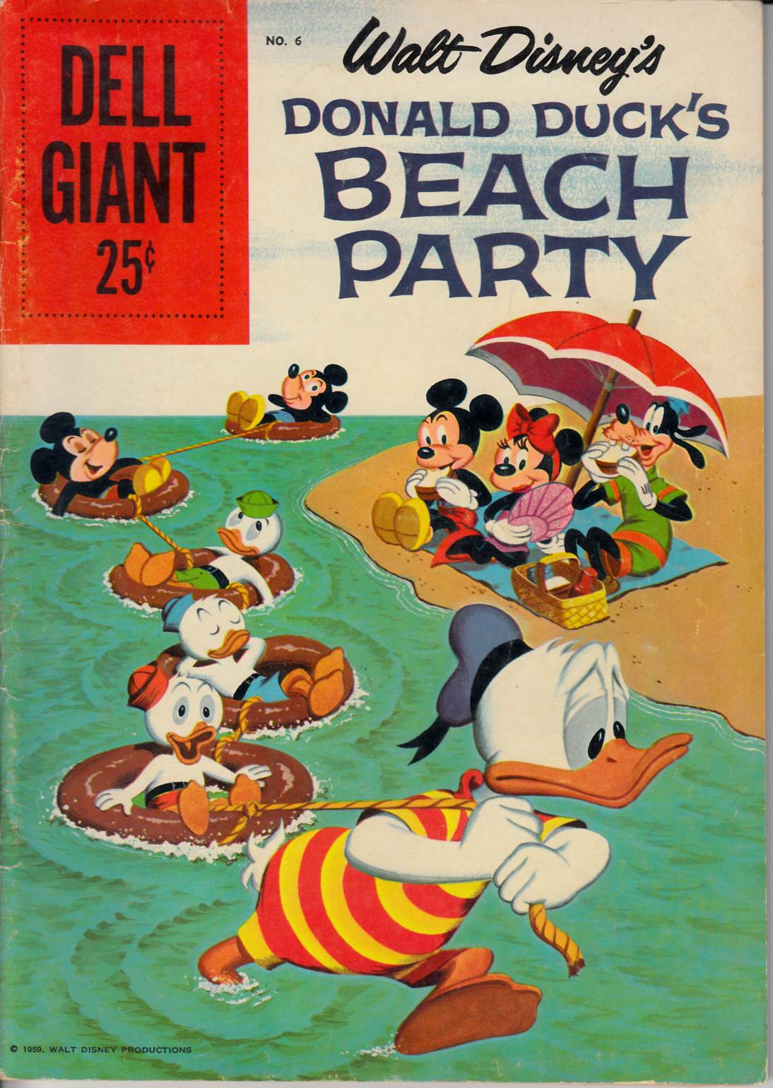 Dell Giant Donald Duck Beach Party #6 Good (2.0) [Dell Comic] LARGE