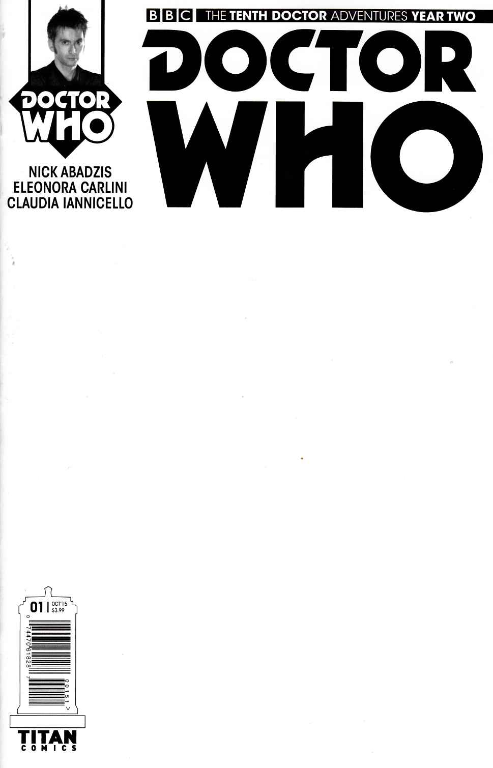 Doctor Who 10th Doctor Year Two #1 Blank Sketch Cover [Titan Comic] LARGE