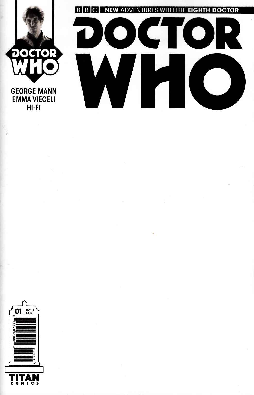 Doctor Who 8th Doctor #1 Blank Sketch Variant Cover [Titan Comic] LARGE