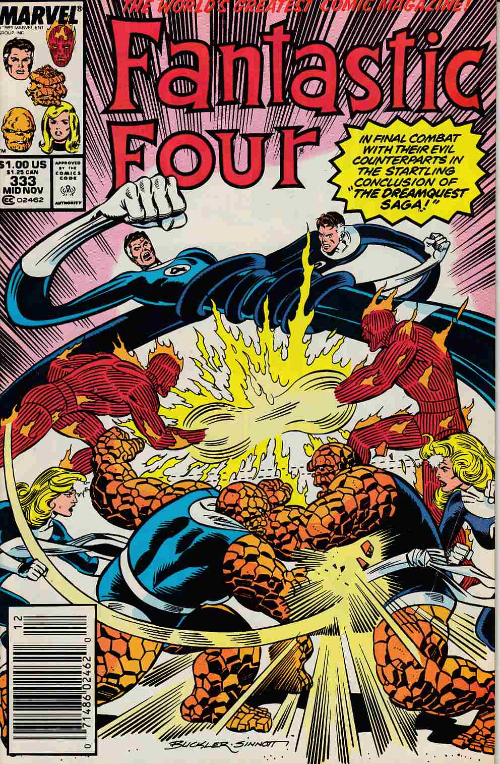 Fantastic Four #333 Newsstand Edition Fine Minus (5.5) [Marvel Comic] LARGE