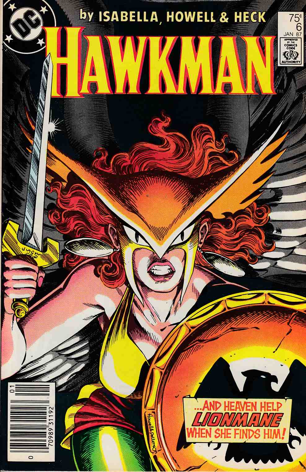 Hawkman #6 Newsstand Edition Very Fine Minus (7.5) [DC Comic] LARGE