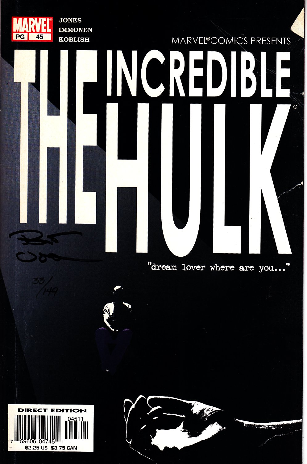 Incredible Hulk #45 DF Signed By Bruce Jones [Marvel Comic] THUMBNAIL