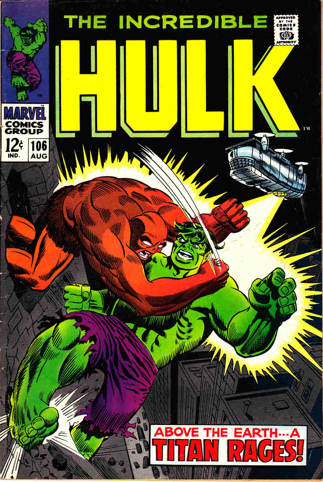 Incredible Hulk #106 Very Good/Fine (5.0) [Marvel Comic] THUMBNAIL