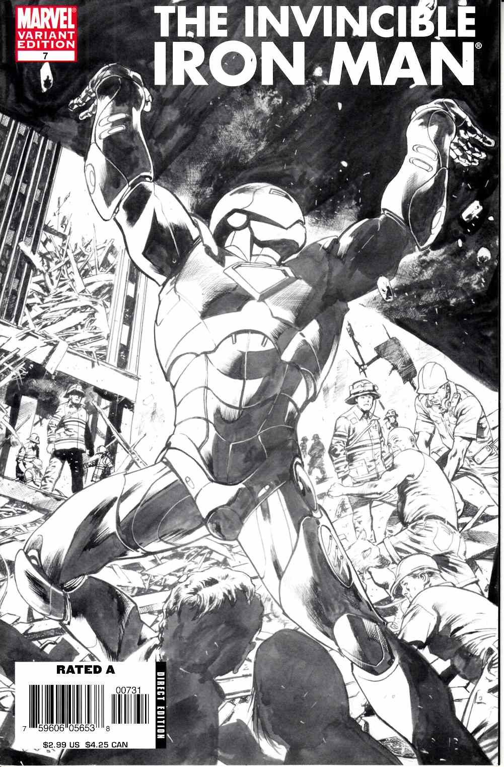 Iron Man #7 B&W Hitch Variant Cover Very Fine (8.0) [Marvel Comic] THUMBNAIL