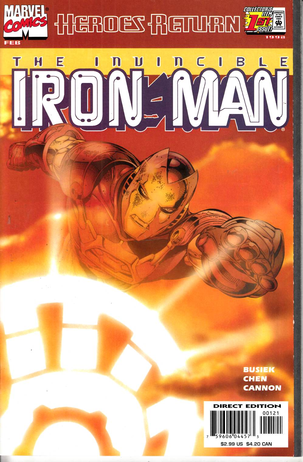 Iron Man #1 Sunburst Variant Cover Very Fine (8.0) [Marvel Comic] THUMBNAIL