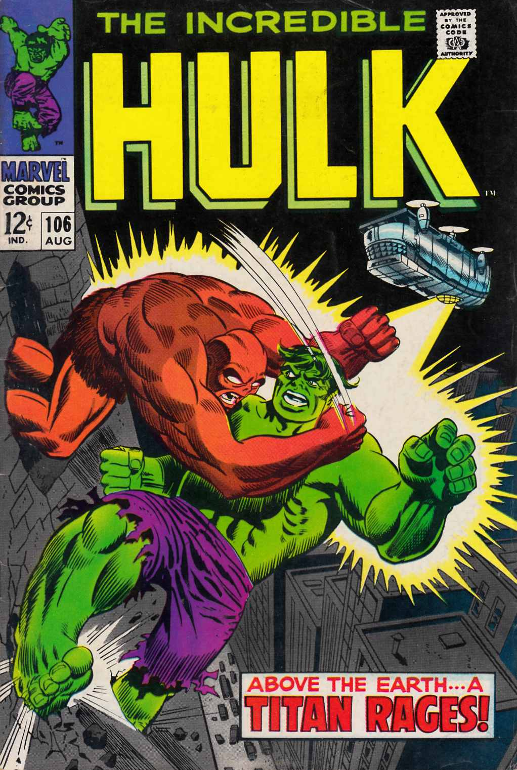 Incredible Hulk #106 Very Good (4.0) [Marvel Comic] THUMBNAIL