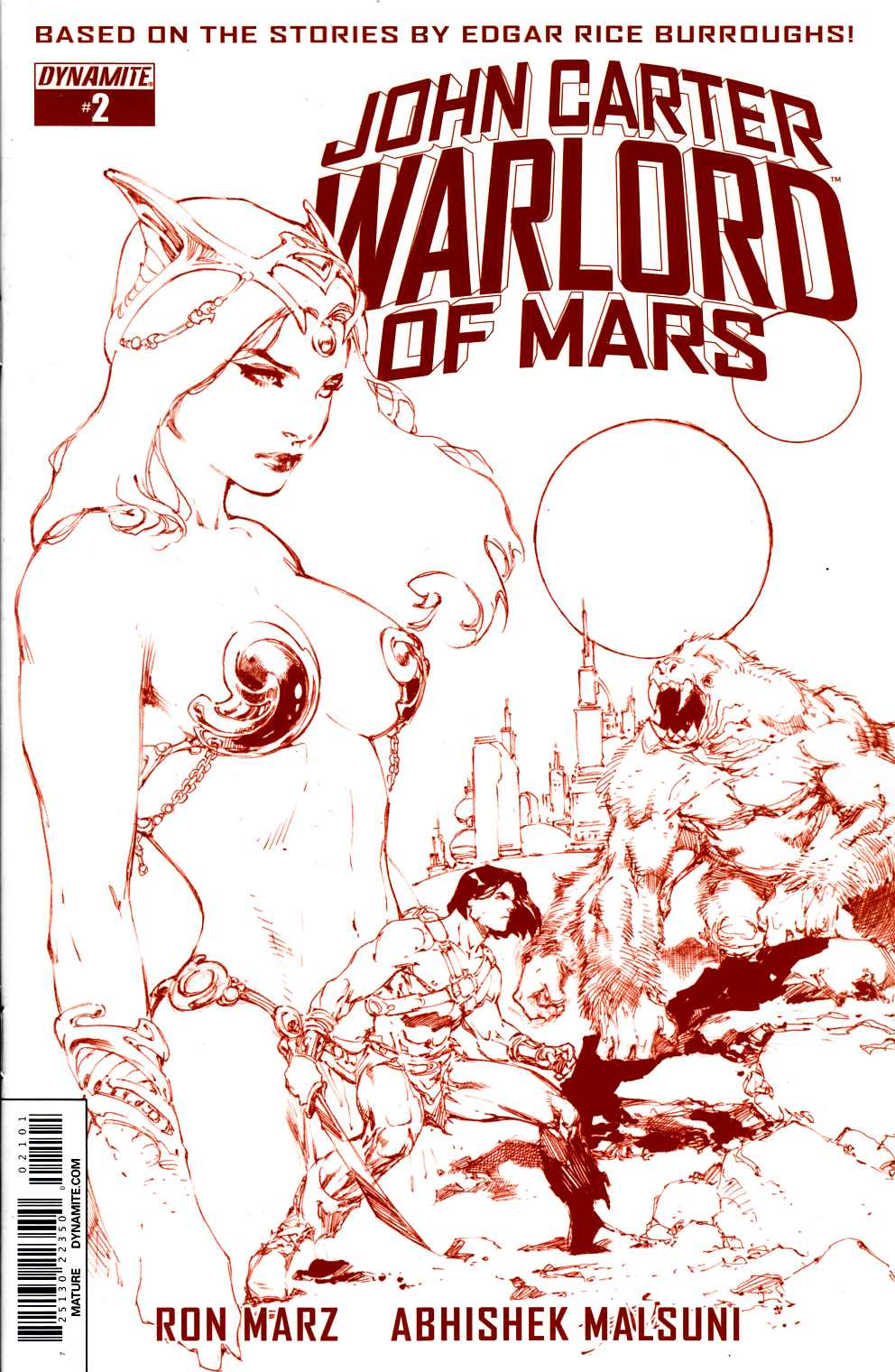 John Carter Warlord #2 Rare Benes Martian Red Variant Cover [Dynamite Comic] LARGE