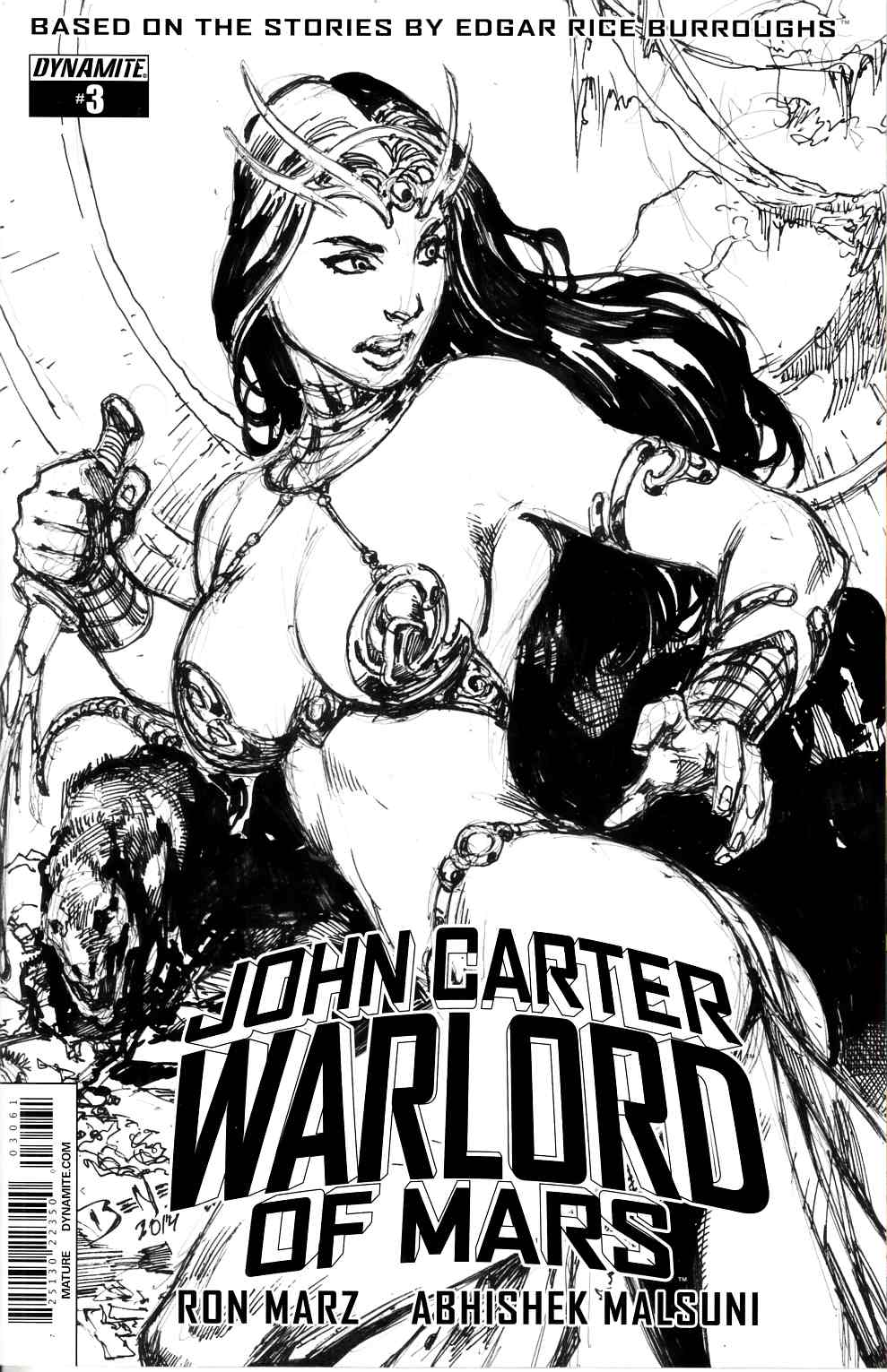 John Carter Warlord #3 Cover F- Benes B&W Incentive [Dynamite Comic] THUMBNAIL