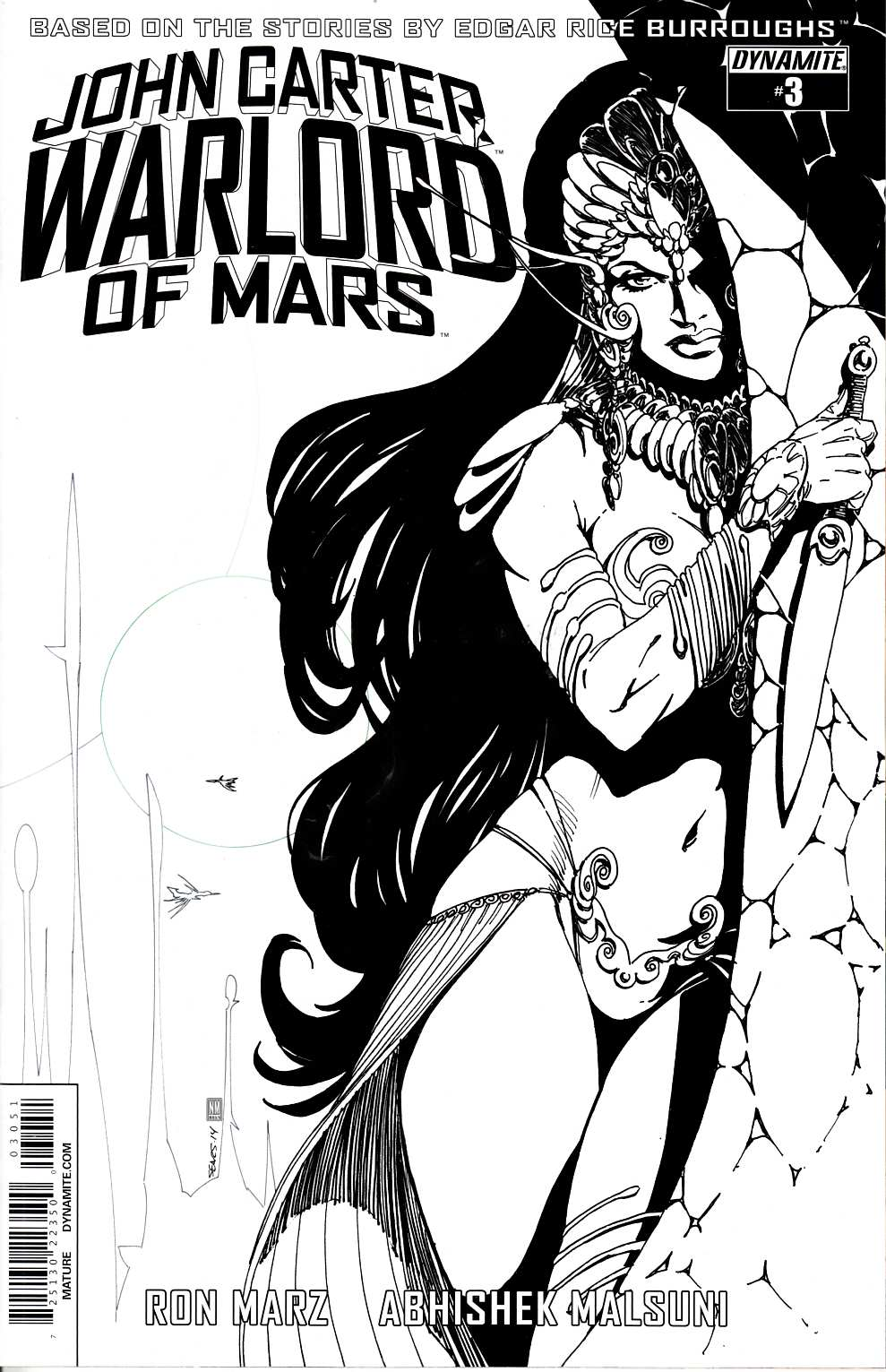 John Carter Warlord #3 Cover E- Sears B&W Incentive [Dynamite Comic] THUMBNAIL