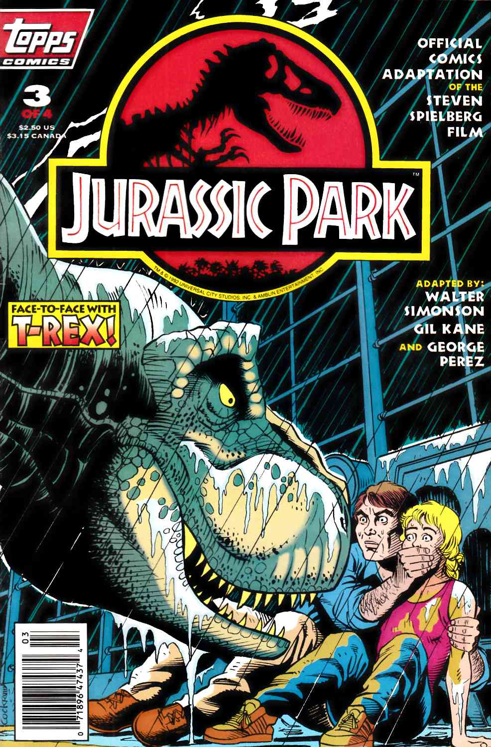 Jurassic Park #3 Newsstand Edition Very Fine (8.0) [Topps Comic] THUMBNAIL