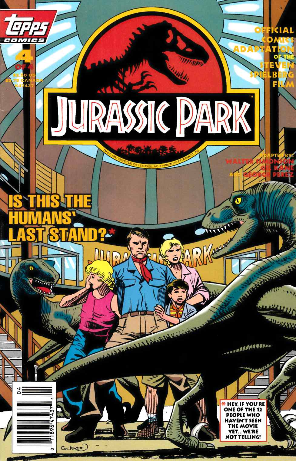 Jurassic Park #4 Newsstand Edition Very Fine (8.0) [Topps Comic] THUMBNAIL