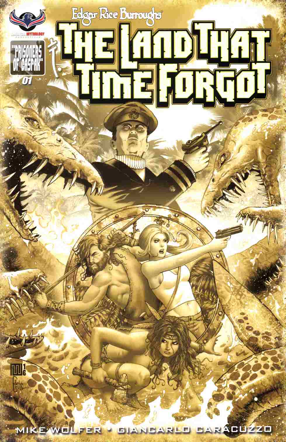 ERB Land That Time Forgot #1 B&W Incentive Cover [American Mythology Comic] THUMBNAIL