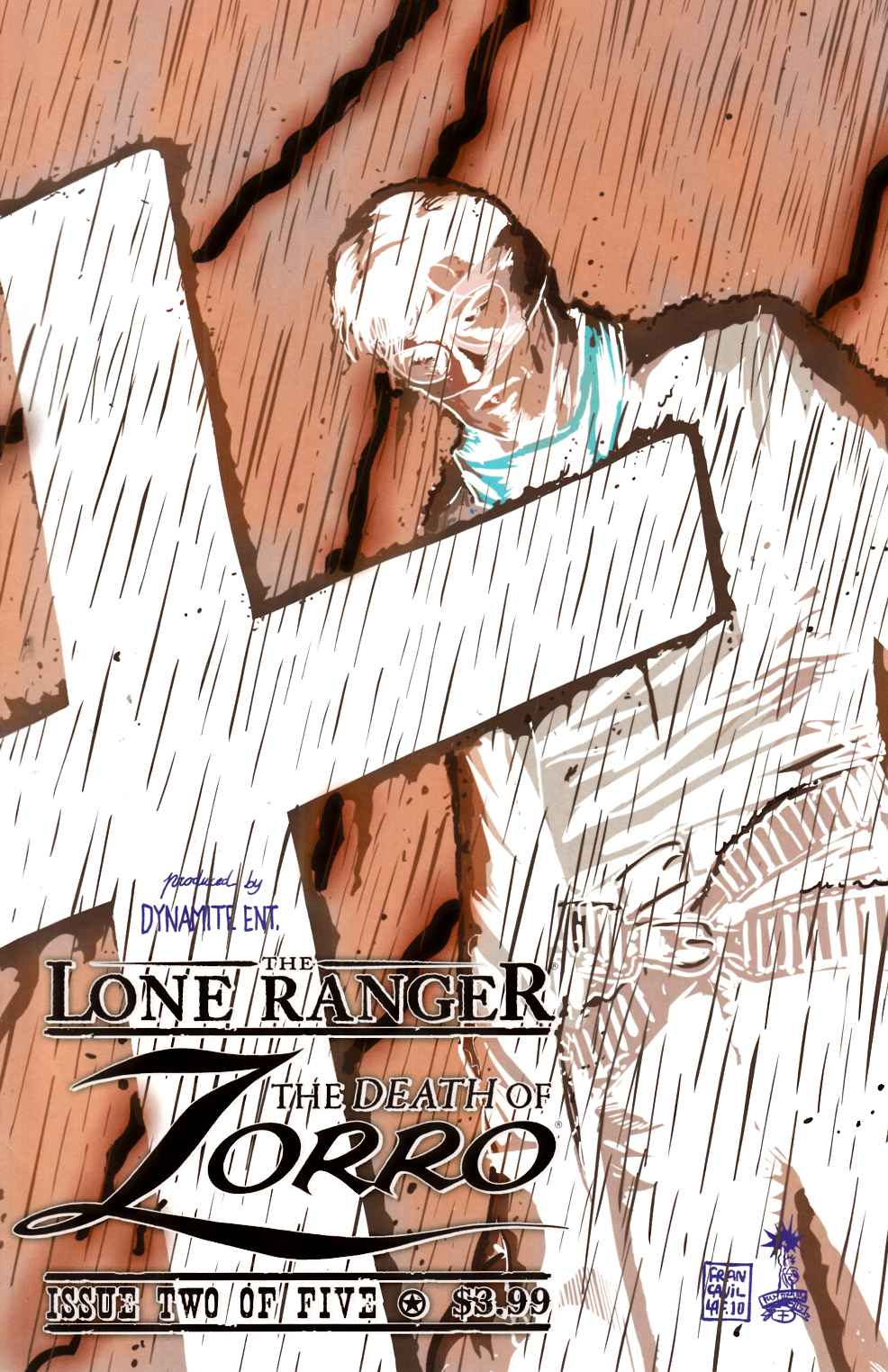 Lone Ranger Death of Zorro #2 Negative Variant Cover Very Fine Minus (7.5) [Dynamite Comic] THUMBNAIL