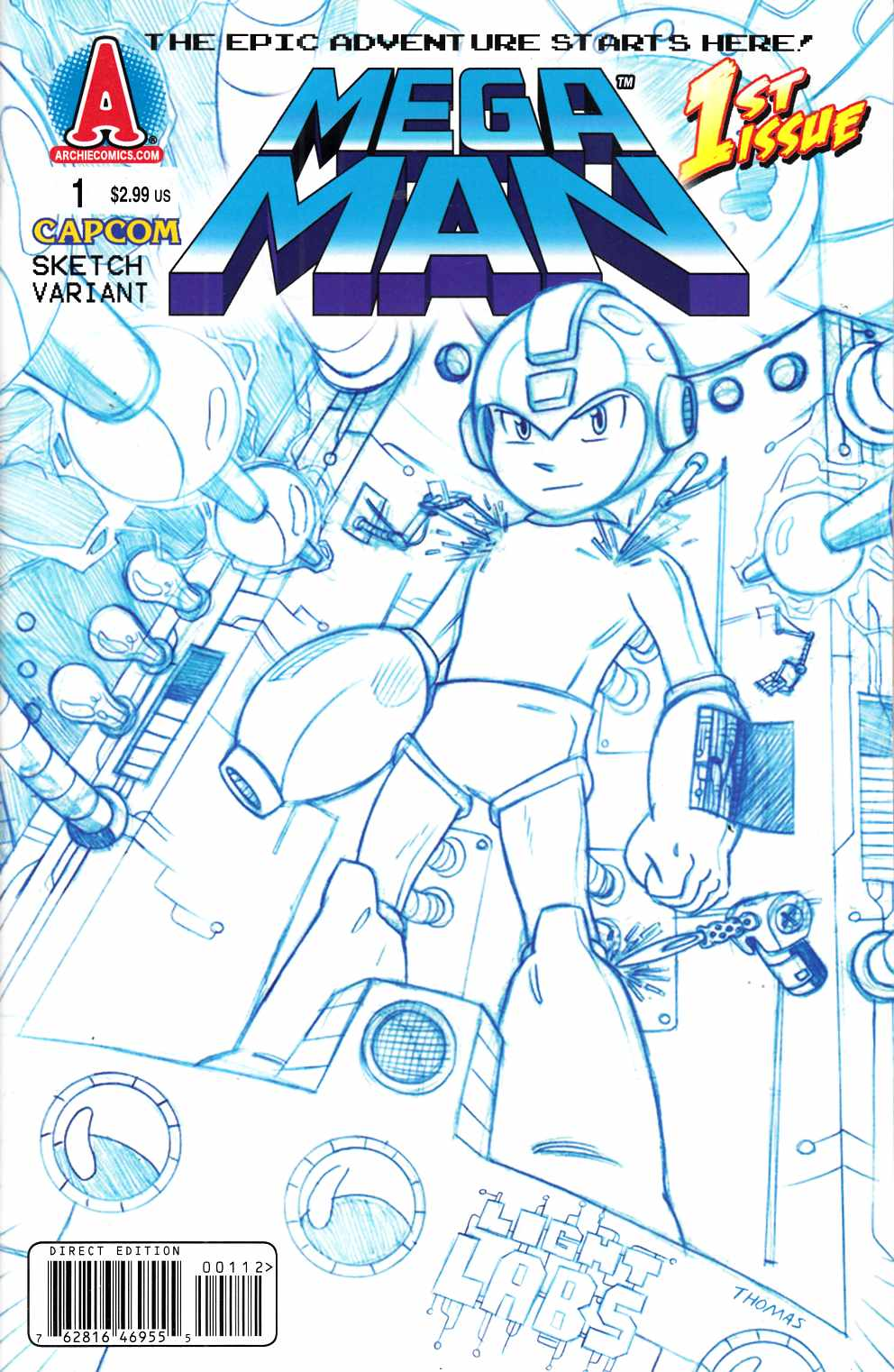 Mega Man #1 Thomas Sketch Cover Near Mint (9.4) [Archie Comic] THUMBNAIL