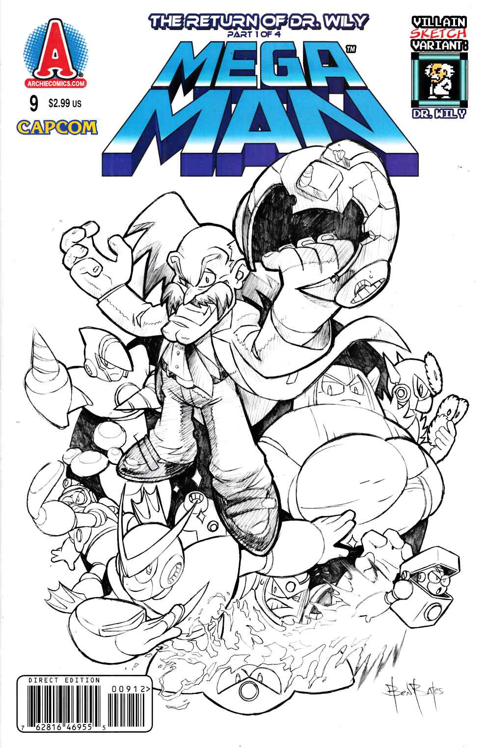 Mega Man #9 Sketch Variant Cover Near Mint (9.4) [Archie Comic] THUMBNAIL