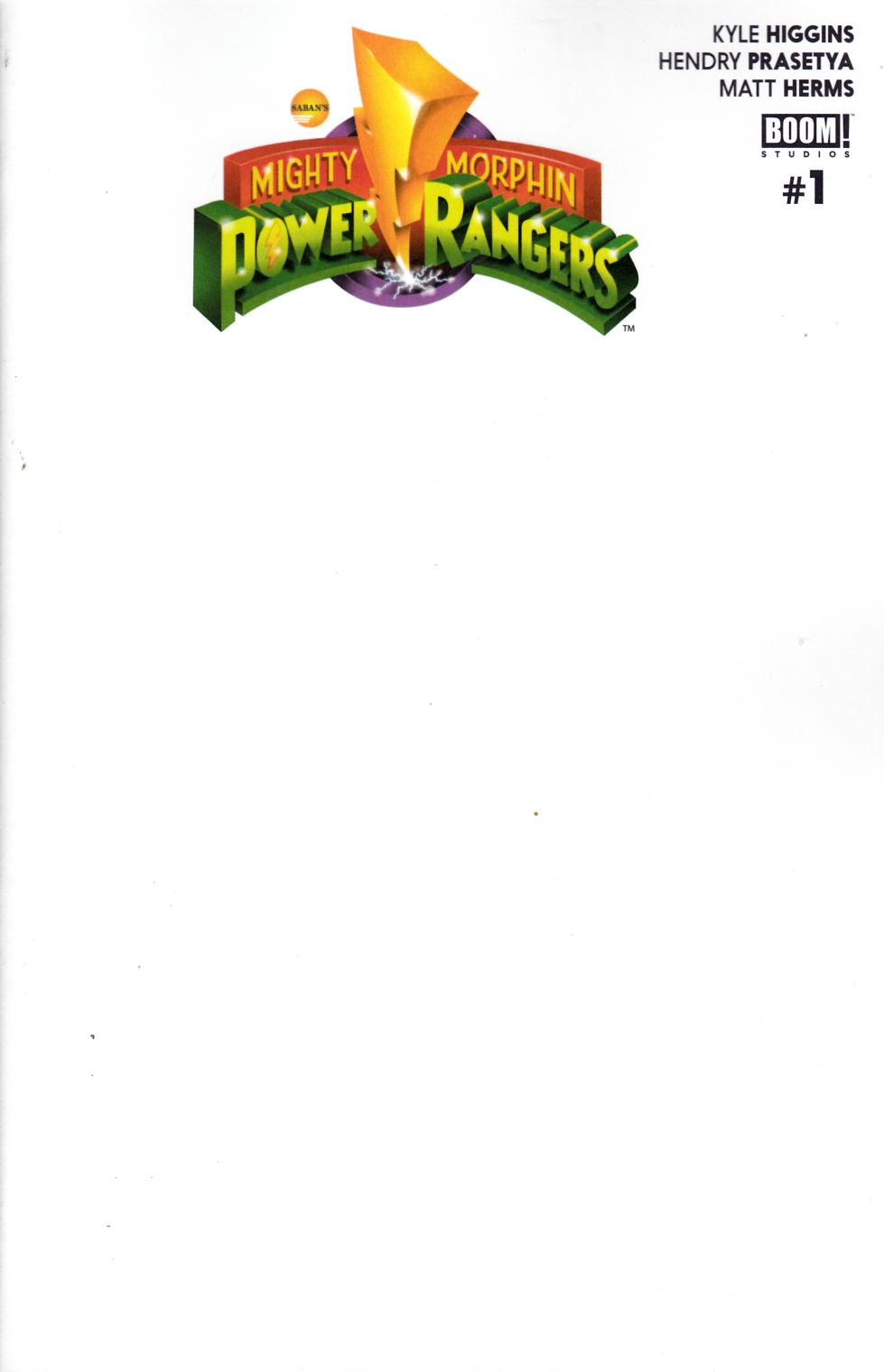 Mighty Morphin Power Rangers #1 Unlock Blank Variant Cover [Boom Comic]