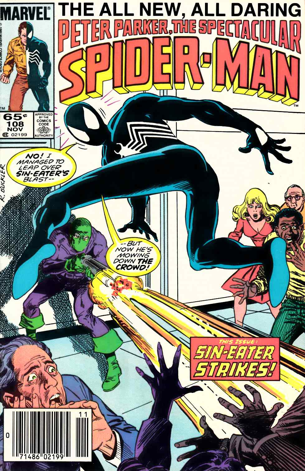 Peter Parker Spectacular Spider-Man #108 Newsstand Edition Fine Plus (6.5) [Marvel Comic] THUMBNAIL