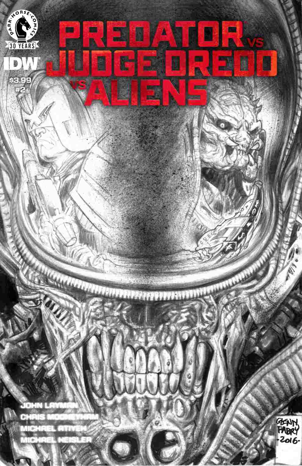 Predator vs Judge Dredd vs Aliens #2 Fabry Pencils Variant Cover [Dark Horse Comic]
