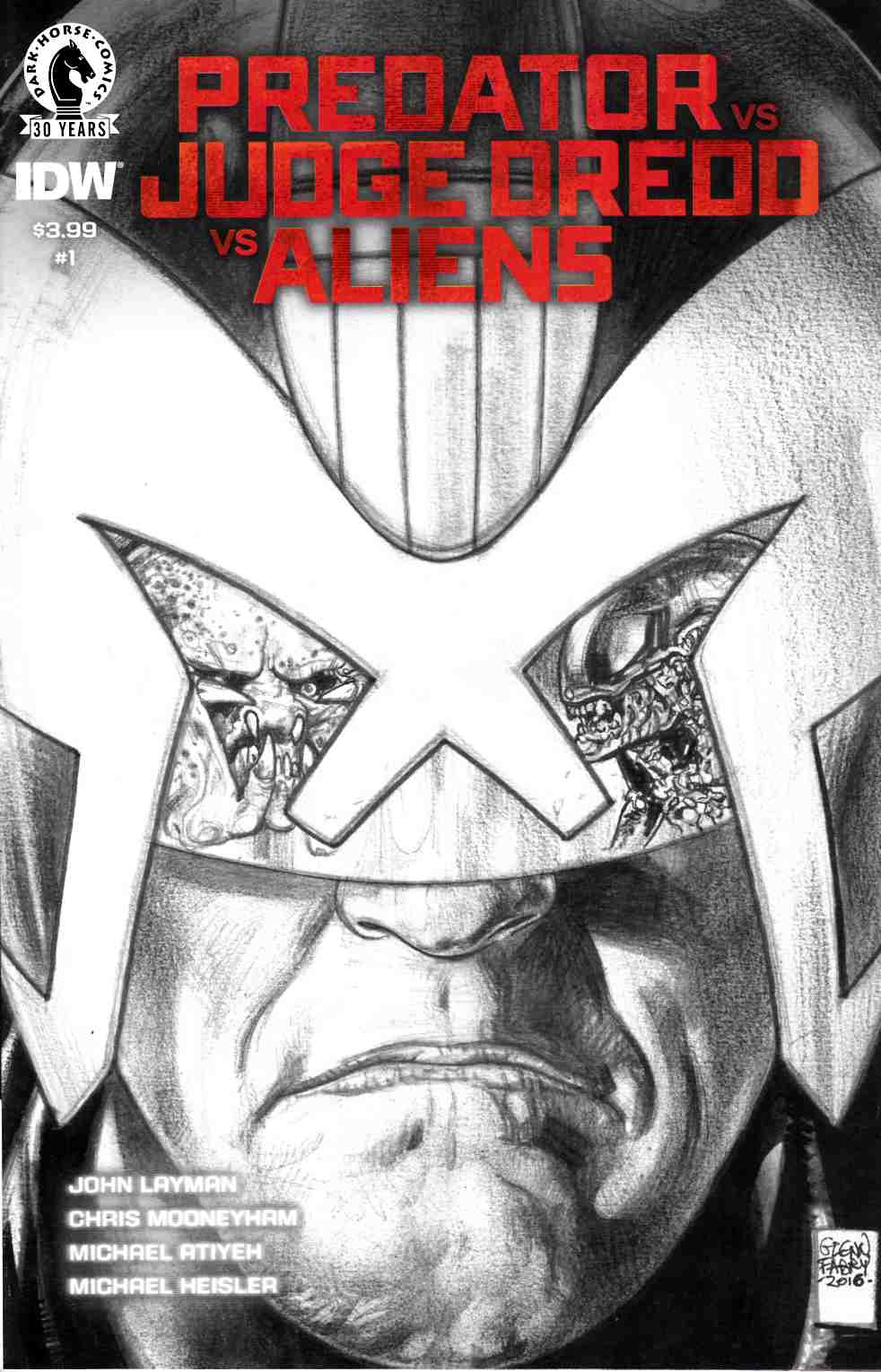Predator vs Judge Dredd vs Aliens #1 Fabry Pencils Variant Cover [Dark Horse Comic]