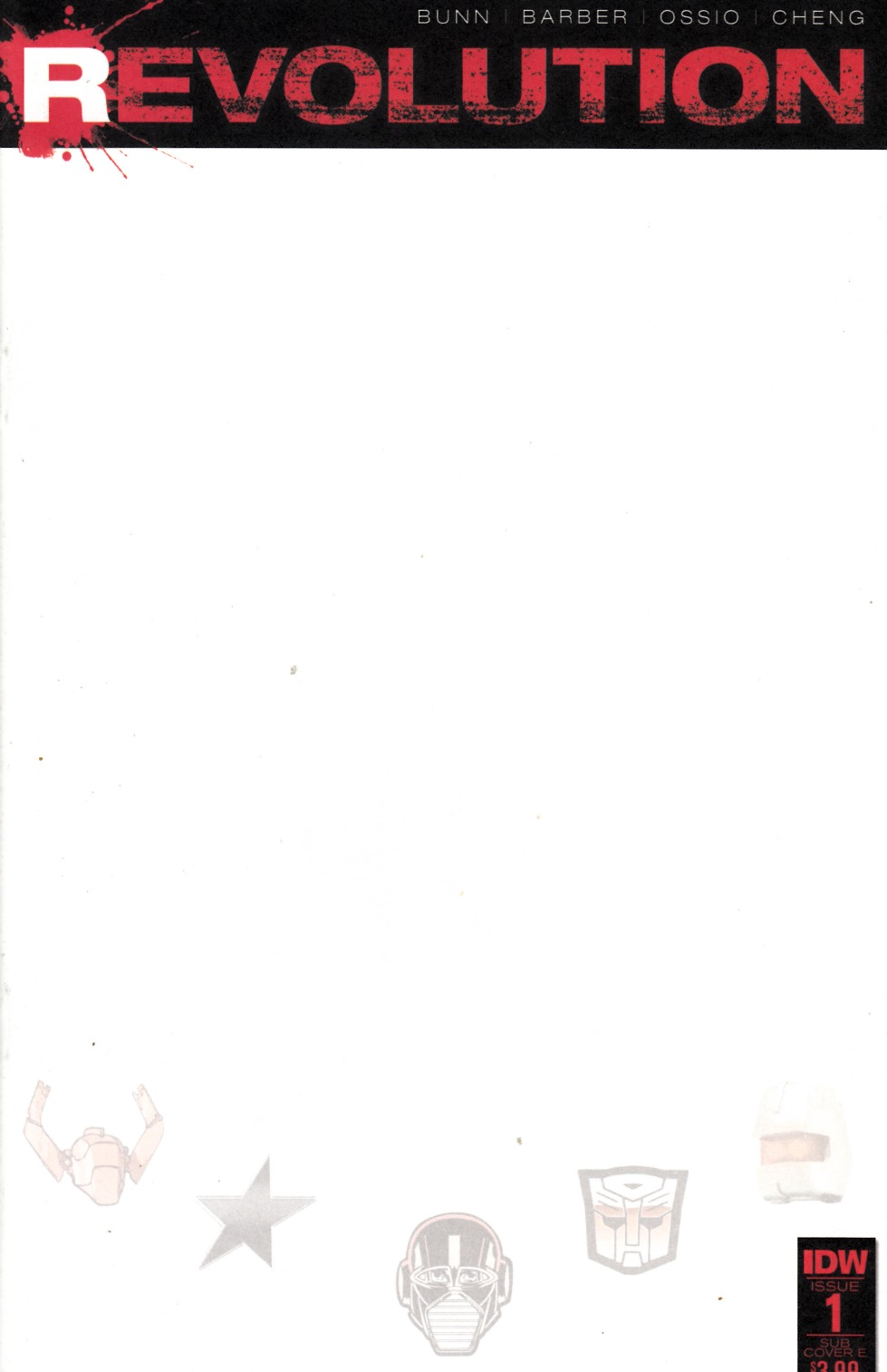 Revolution #1 Subscription Cover E- Blank [IDW Comic] THUMBNAIL