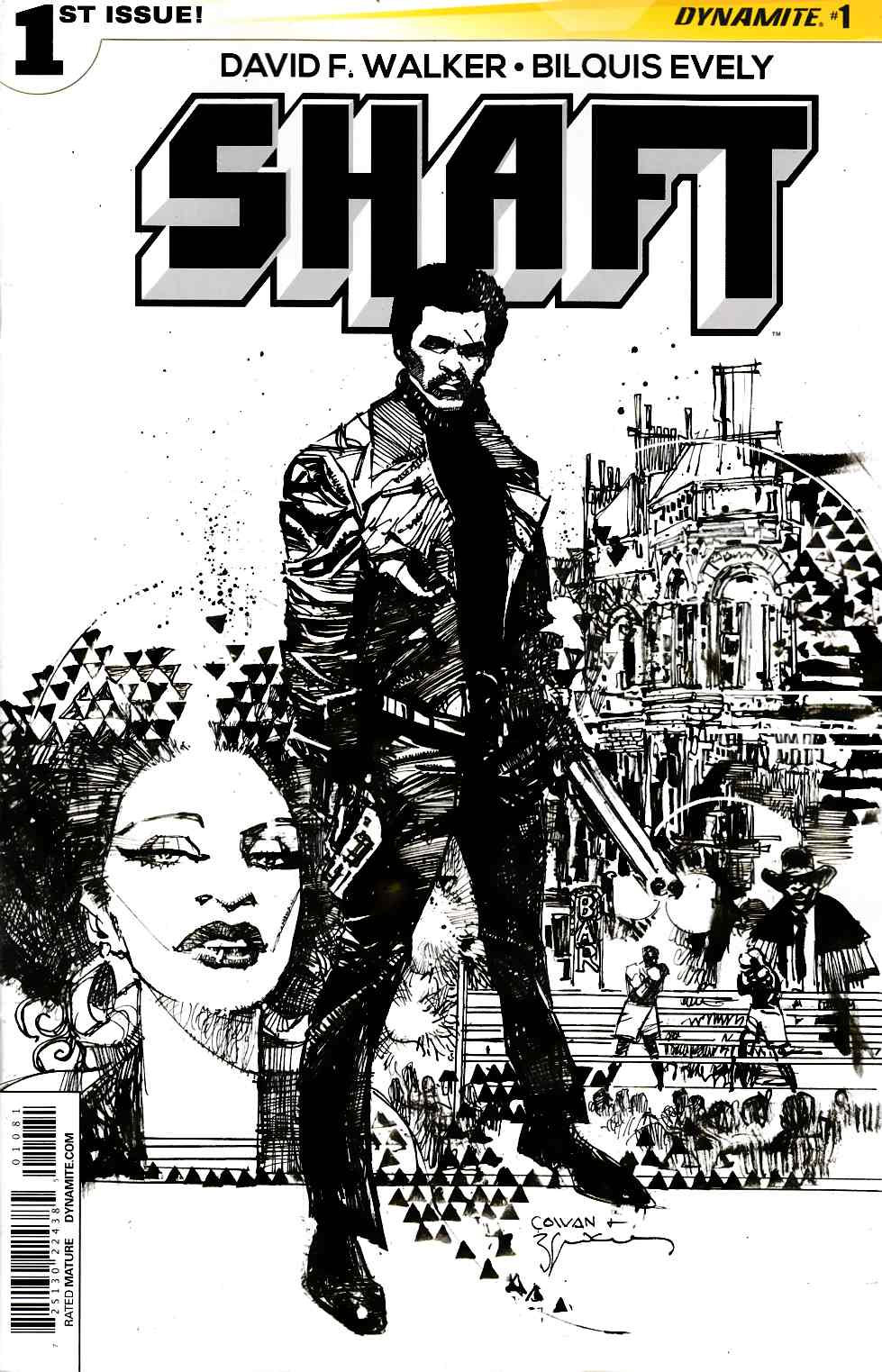 Shaft #1 Cover H- Cowan B&W Incentive [Dynamite Comic] THUMBNAIL