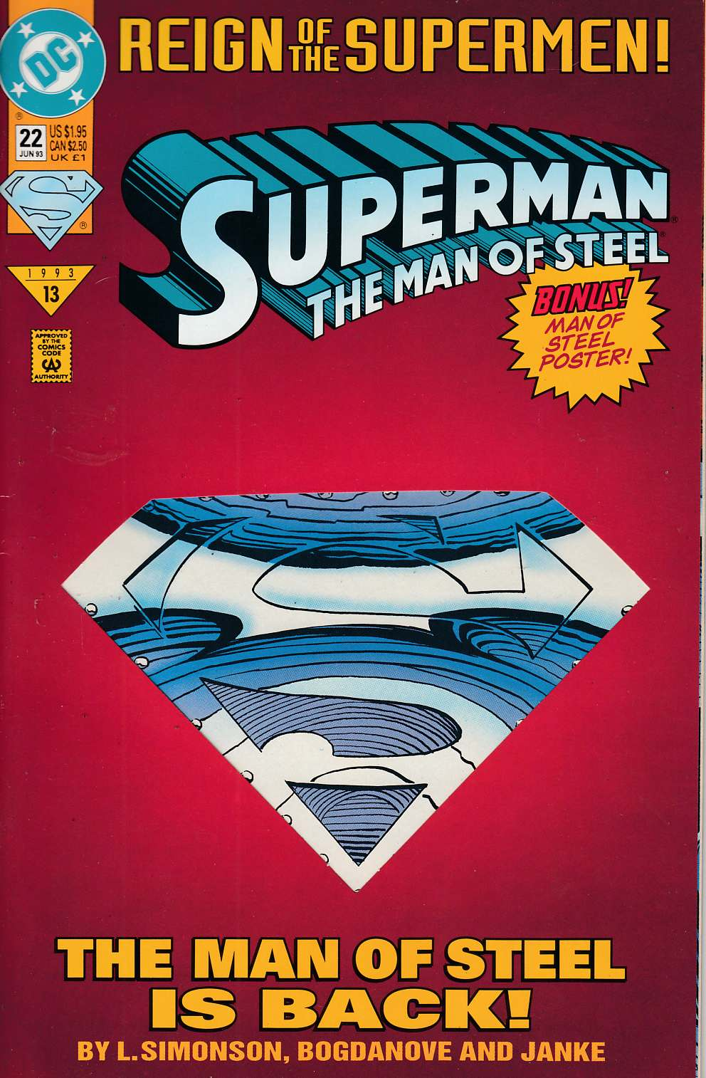 Superman The Man of Steel #22 Very Fine Minus (7.5) [DC Comic] LARGE