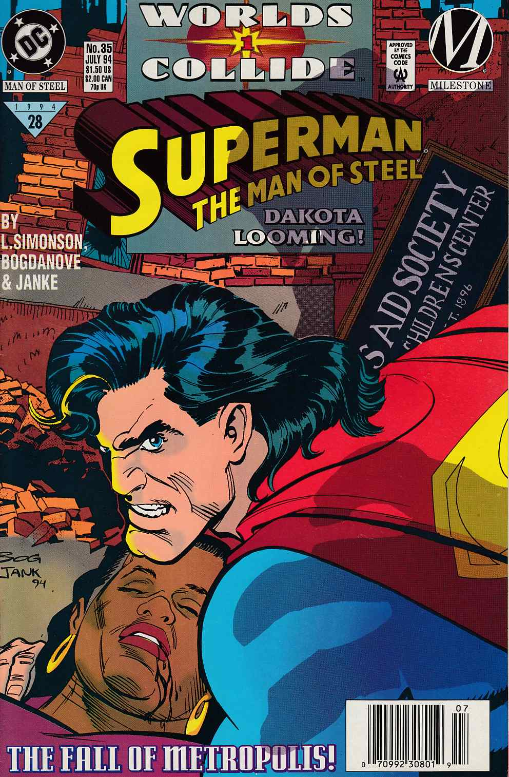 Superman The Man of Steel #35 Newsstand Edition Near Mint (9.4) [DC Comic] LARGE