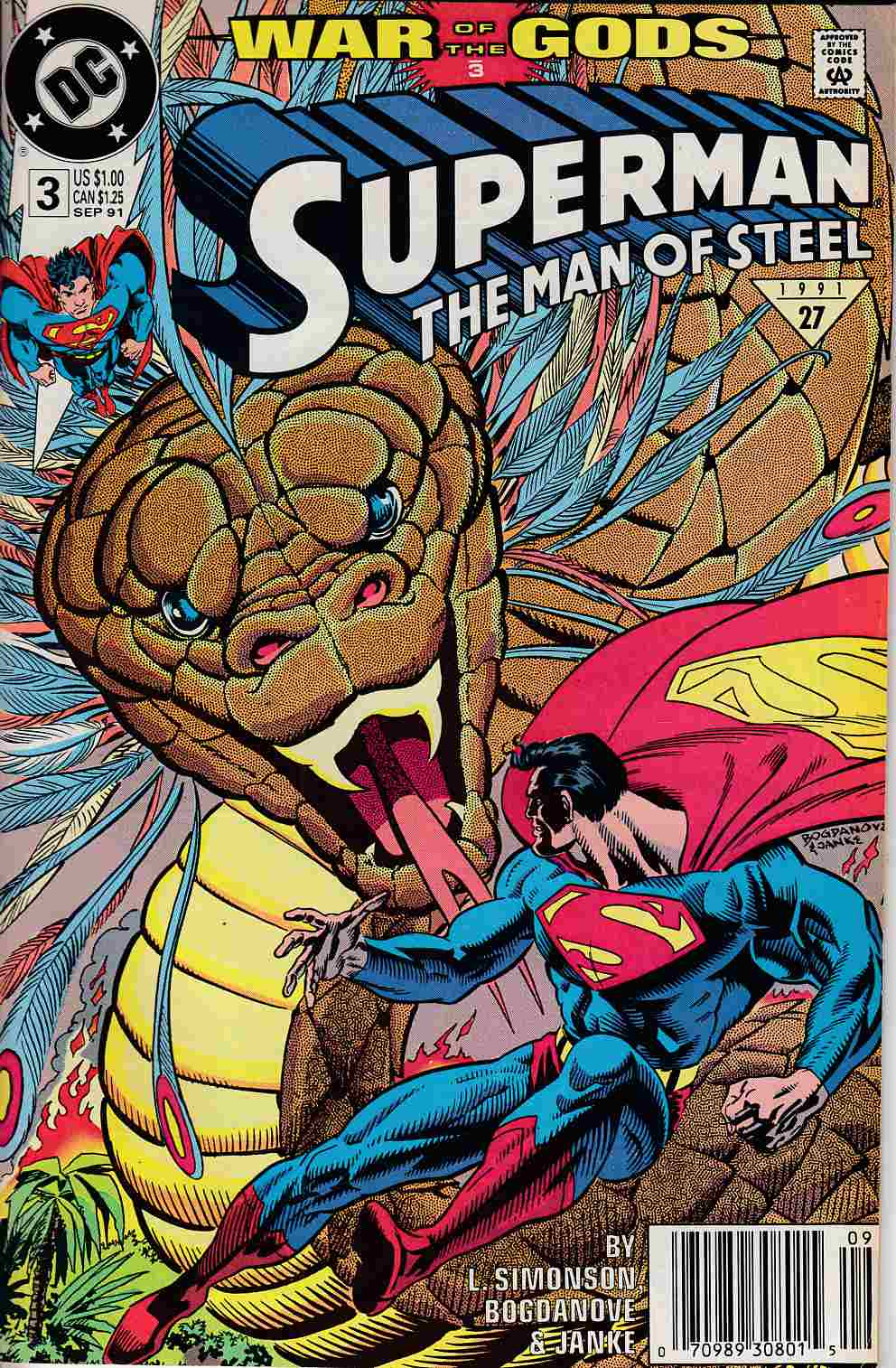 Superman The Man of Steel #3 Newsstand Edition Very Fine Minus (7.5) [DC Comic] LARGE
