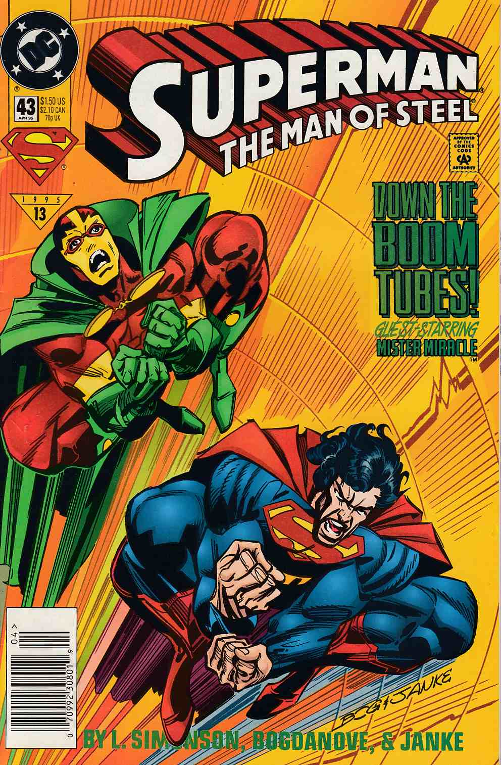 Superman The Man of Steel #43 Newsstand Edition Near Mint Minus (9.2) [DC Comic] LARGE