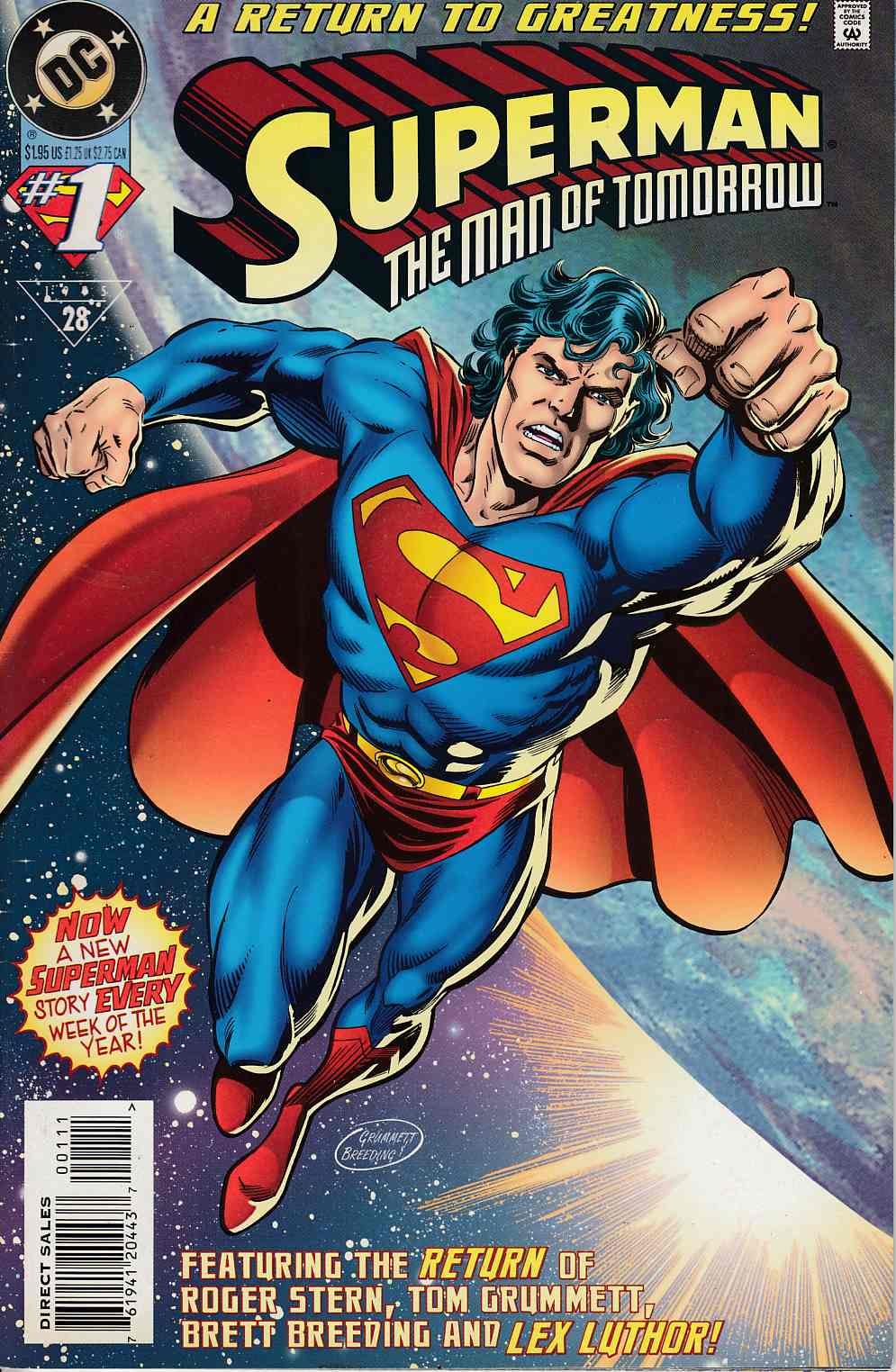 Superman The Man of Tomorrow #1 Near Mint (9.4) [DC Comic] LARGE